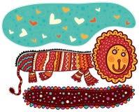 Lion décoratif de sourire Image libre de droits