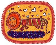 Lion décoratif de sourire avec des coeurs Image stock