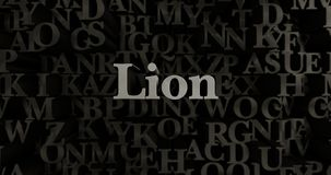 Lion - 3D rendered metallic typeset headline illustration. Can be used for an online banner ad or a print postcard Royalty Free Stock Photography