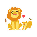 Lion Dad Animal Parent And Its Baby Calf Parenthood Themed Colorful Illustration With Cartoon Fauna Characters. Smiling Zoo Wildlife Loving Family Members Royalty Free Stock Images