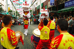 Lion dance. Is a form of traditional dance in Chinese culture, in which performers mimic a lion's movements in a lion costume. The  is often mistakenly referred Stock Images