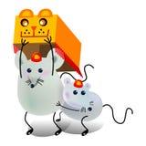 Lion dance. Two little mouse playing lion dance, cartoon, vector, illustration Stock Photos