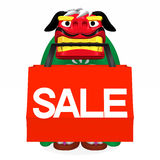Lion Dance That Bites Shopping Bag Front Royalty Free Stock Photos
