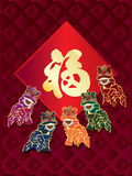 Lion dance card fu template diamond design Stock Photos