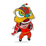 Lion dance cartoon vector, character design, chinese new year vector illustration