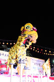 Lion dance with china drum Stock Image