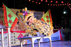 Lion dance with china drum Stock Photo