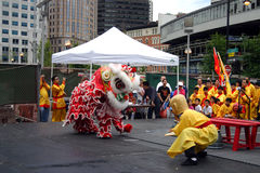 Lion dance in Chinatown, Boston during Chinese New Year celebration Royalty Free Stock Images