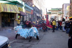 Lion dance in Chinatown, Boston during Chinese New Year celebration Royalty Free Stock Photo