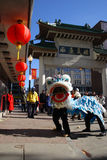 Lion dance in Chinatown, Boston during Chinese New Year celebration Stock Photo