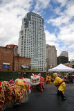 Lion dance in Chinatown, Boston during Chinese New Year celebration Stock Photos