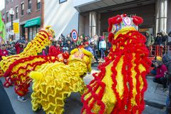 Lion Dance in Chinatown Boston, Massachusetts, de V.S. royalty-vrije stock foto