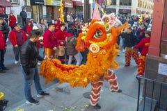 Lion Dance in Chinatown Boston, Massachusetts, de V.S. royalty-vrije stock afbeeldingen