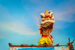 Lion Dance in a Chinese New Year`s Celebration Royalty Free Stock Photos