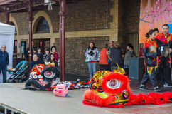 Lion Dance Costumes in Mooncake festival,Melbourne Stock Images