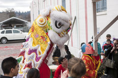Lion dance and the crowd. Royalty Free Stock Photo