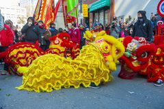 Lion Dance dans Chinatown Boston, le Massachusetts, Etats-Unis photo libre de droits