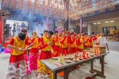 Lion Dance del sud a cerimonia di apertura dell'occhio, pagoda di signora Thien Hau, Vietnam Fotografia Stock Libera da Diritti