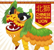 Lion Dance Display du nord chinois vert et jaune traditionnel, illustration de vecteur Photo libre de droits