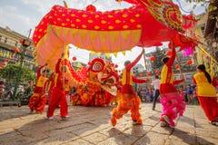 Lion Dance do sul na cerimônia de inauguração do olho, pagode da senhora Thien Hau, Vietname Fotos de Stock Royalty Free