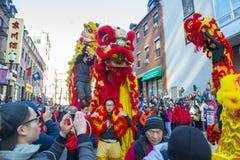 Lion Dance en Chinatown Boston, Massachusetts, los E.E.U.U. foto de archivo