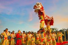 Lion Dance en una celebración china del ` s del Año Nuevo Imágenes de archivo libres de regalías