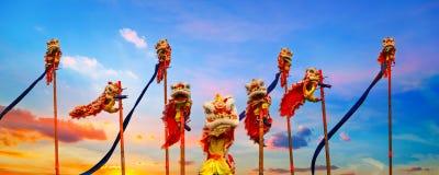 Lion Dance en una celebración china del ` s del Año Nuevo Fotografía de archivo