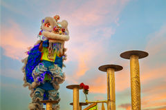 Lion Dance en una celebración china del ` s del Año Nuevo Fotos de archivo libres de regalías
