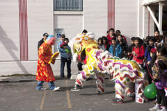 Lion dance entertains crowd. Royalty Free Stock Photo