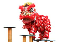 Lion dance of festival. The lucky symbol of fortune and happiness Royalty Free Stock Images