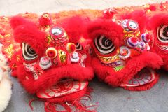 Lion dance of festival. The lucky symbol of fortune and happiness Royalty Free Stock Image