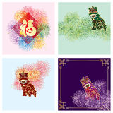 Lion dance firework set. Illustration design fu lion dance firework colors set isolate white color background graphic card element object Stock Image