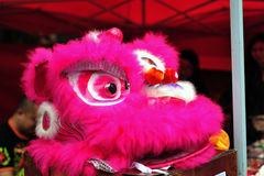 Lion dance. Is a form of traditional dance in Chinese and Indonesian cultures, in which performers mimic a lion's movements in a lion costume Royalty Free Stock Images