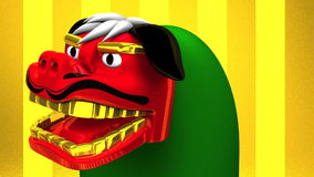 Lion Dance On Gold Background stock video