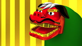Lion Dance On Gold Text Space stock video footage