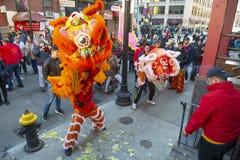 Lion Dance i kineskvarteret Boston, Massachusetts, USA royaltyfri fotografi