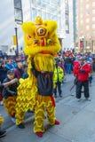 Lion Dance i kineskvarteret Boston, Massachusetts, USA royaltyfri foto