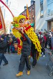 Lion Dance i kineskvarteret Boston, Massachusetts, USA arkivfoto