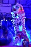 Lion Dance iluminado Foto de Stock Royalty Free