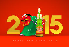 Lion Dance, Kadomatsu, 2015, Greeting On Red. 3D render illustration For The Year Of The Sheep,2015 royalty free illustration