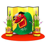 Lion Dance And Kadomatsu Stock Image