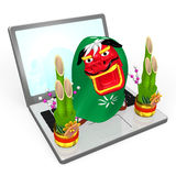 Lion Dance On Lap Top Stock Photography