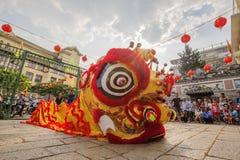Lion Dance meridional en la ceremonia de inauguración del ojo, pagoda de señora Thien Hau, Vietnam Fotos de archivo