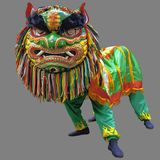 LION DANCE - Mimic of lion's movements on isolated gray background with clipping path. LION DANCE – Traditional dance in Chinese culture. A mimic of Royalty Free Stock Image