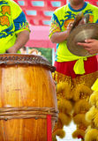 Lion dance musical team. KUALA LUMPUR, MALAYSIA - February 7 : Lion dance musical team are beating drum and cymbals at Tian Hou temple, Kuala Lumpur Malaysia on stock photography