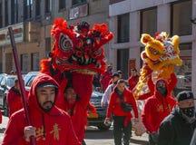 Lion Dance no bairro chinês Boston, Massachusetts, EUA imagens de stock royalty free