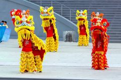 Lion dance performance at NDP 2009 Stock Images