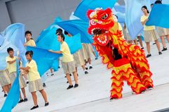 Lion dance performance at NDP 2009 Stock Photos