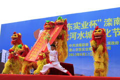Lion dance performance on the stage, china Stock Image