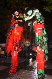 Lion dance. Performances enliven the Chinese culture in the city of Solo, Central Java, Indonesia Stock Photo